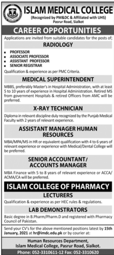 Islam Medical College Sialkot Jobs January 2021