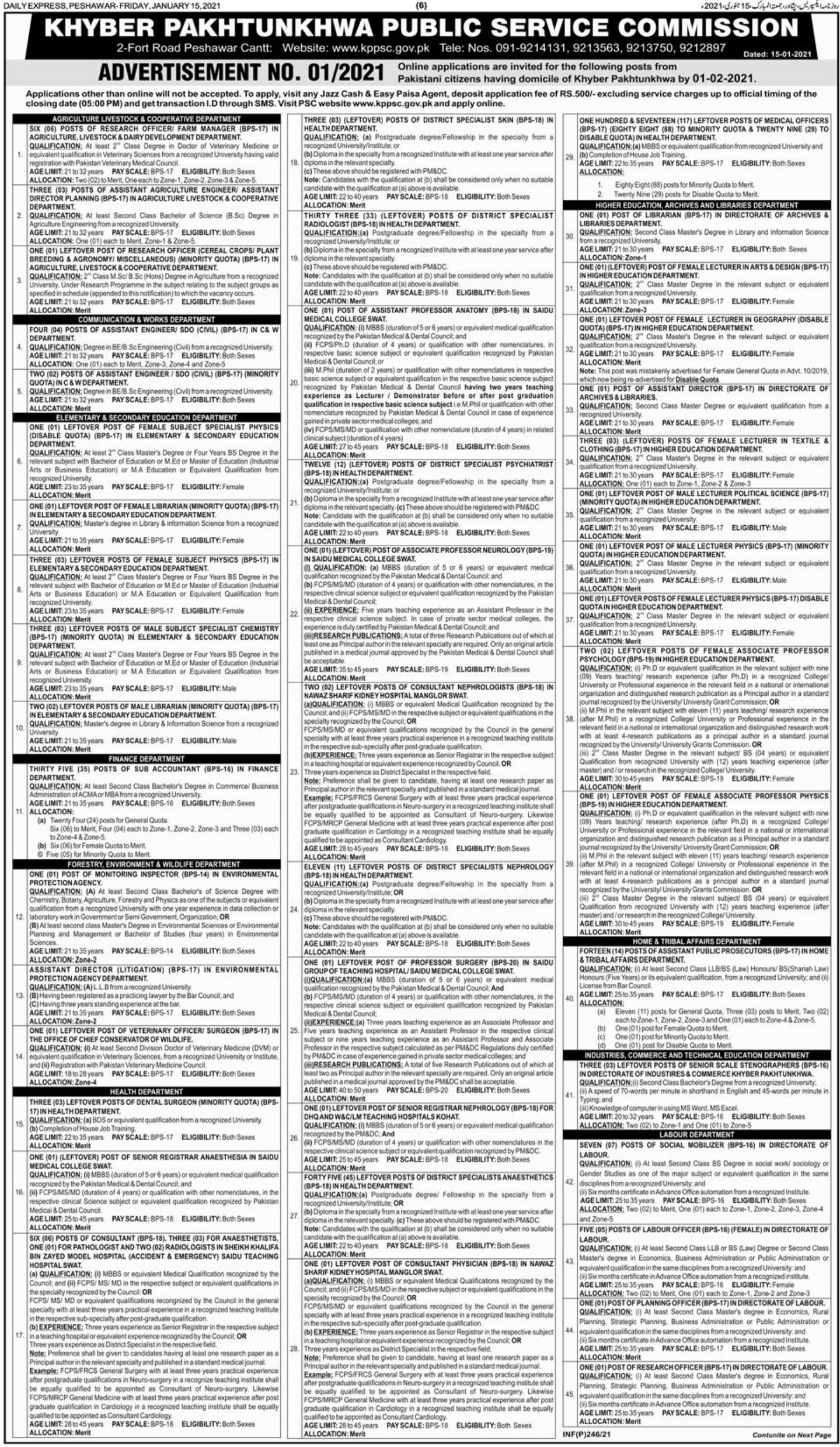 Khyber Pakhtunkhwa Public Service Commission KPPSC Jobs January 2021