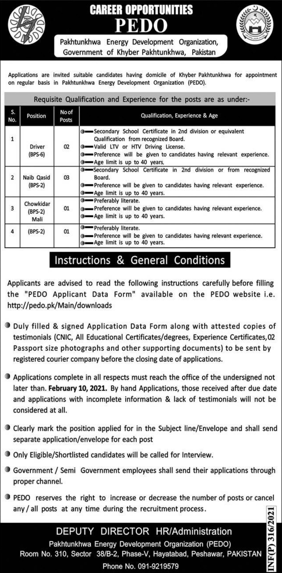 PEDO Government of Khyber Pakhtunkhwa Jobs January 2021