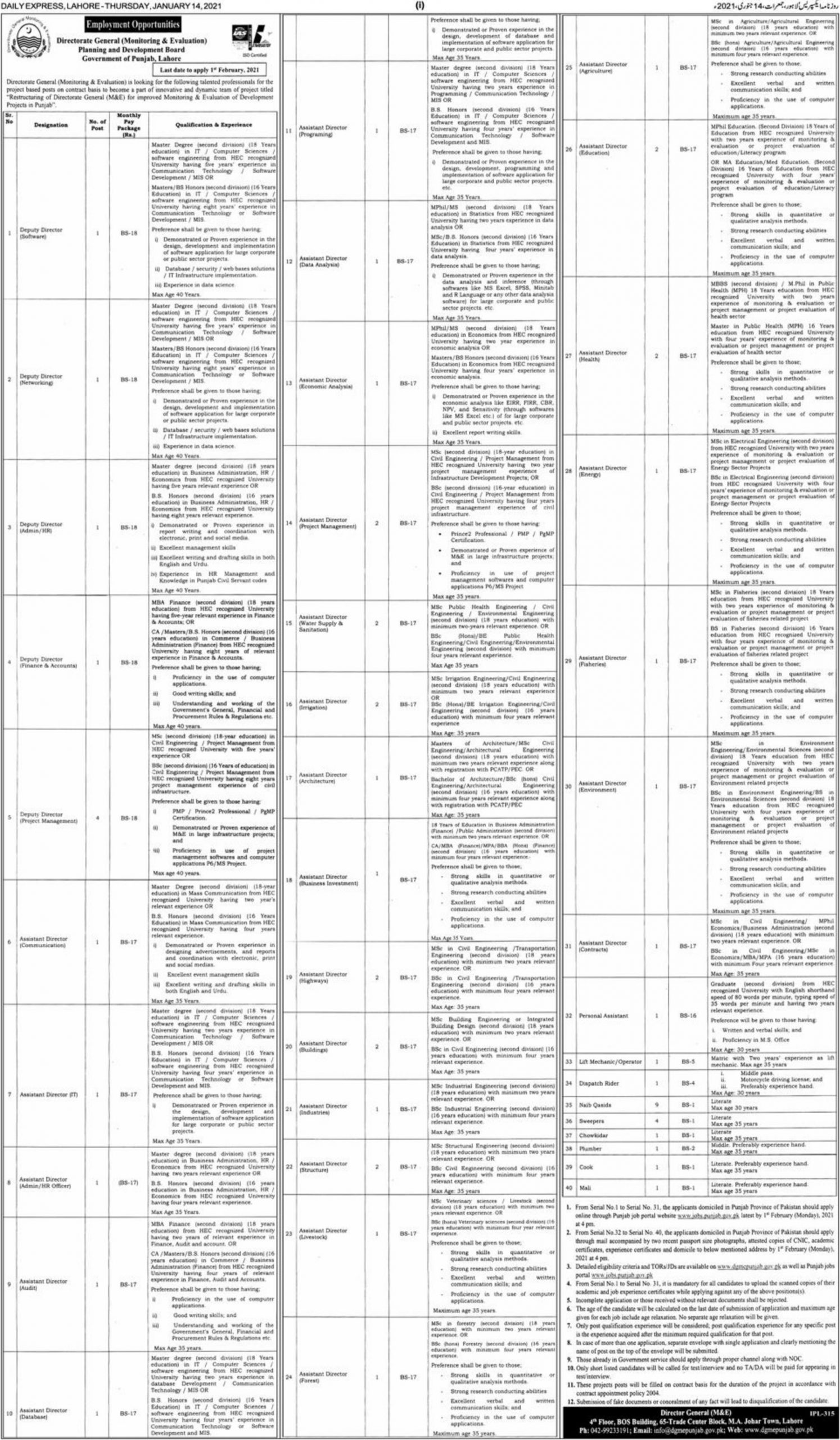 Planning & Development Board Punjab Lahore Jobs January 2021
