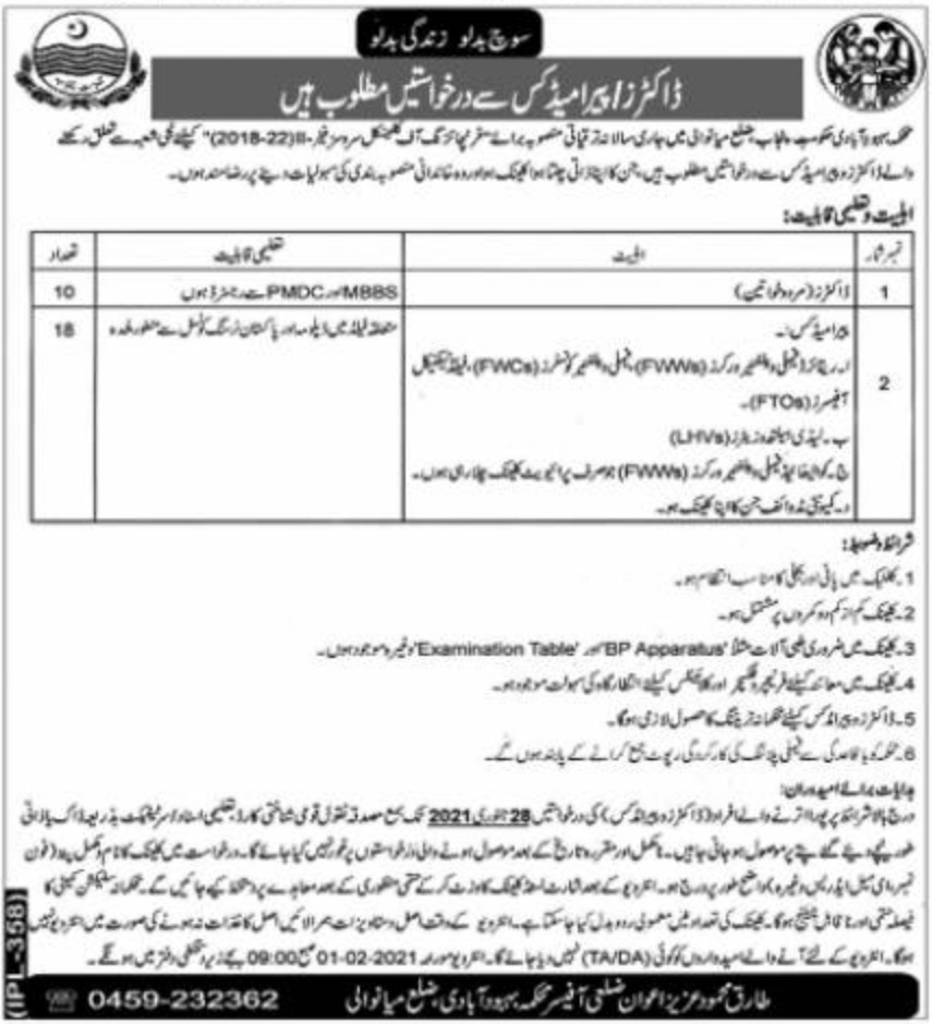 Population Welfare Department Punjab Doctors Jobs January 2021