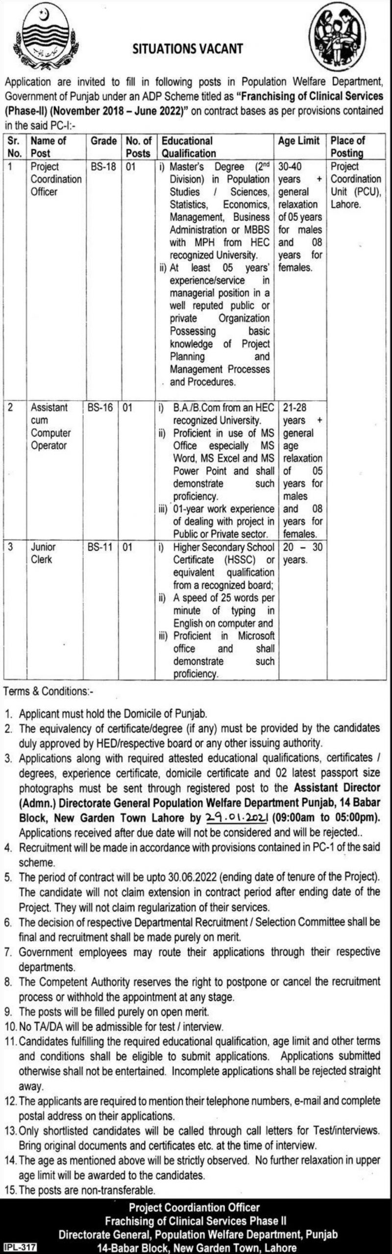 Population Welfare Department Punjab Jobs January 2021