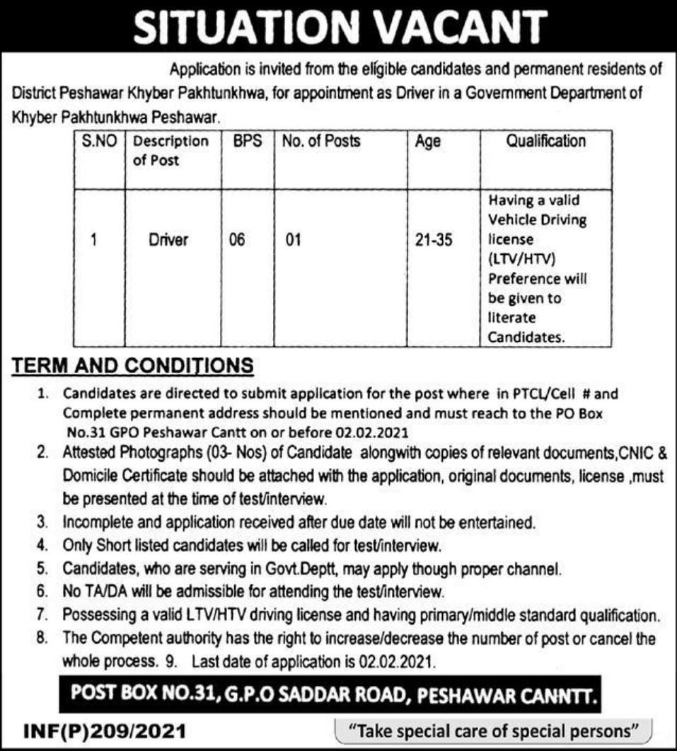 Public Sector Organization P.O.Box 31 Peshawar Cantt Jobs January 2021