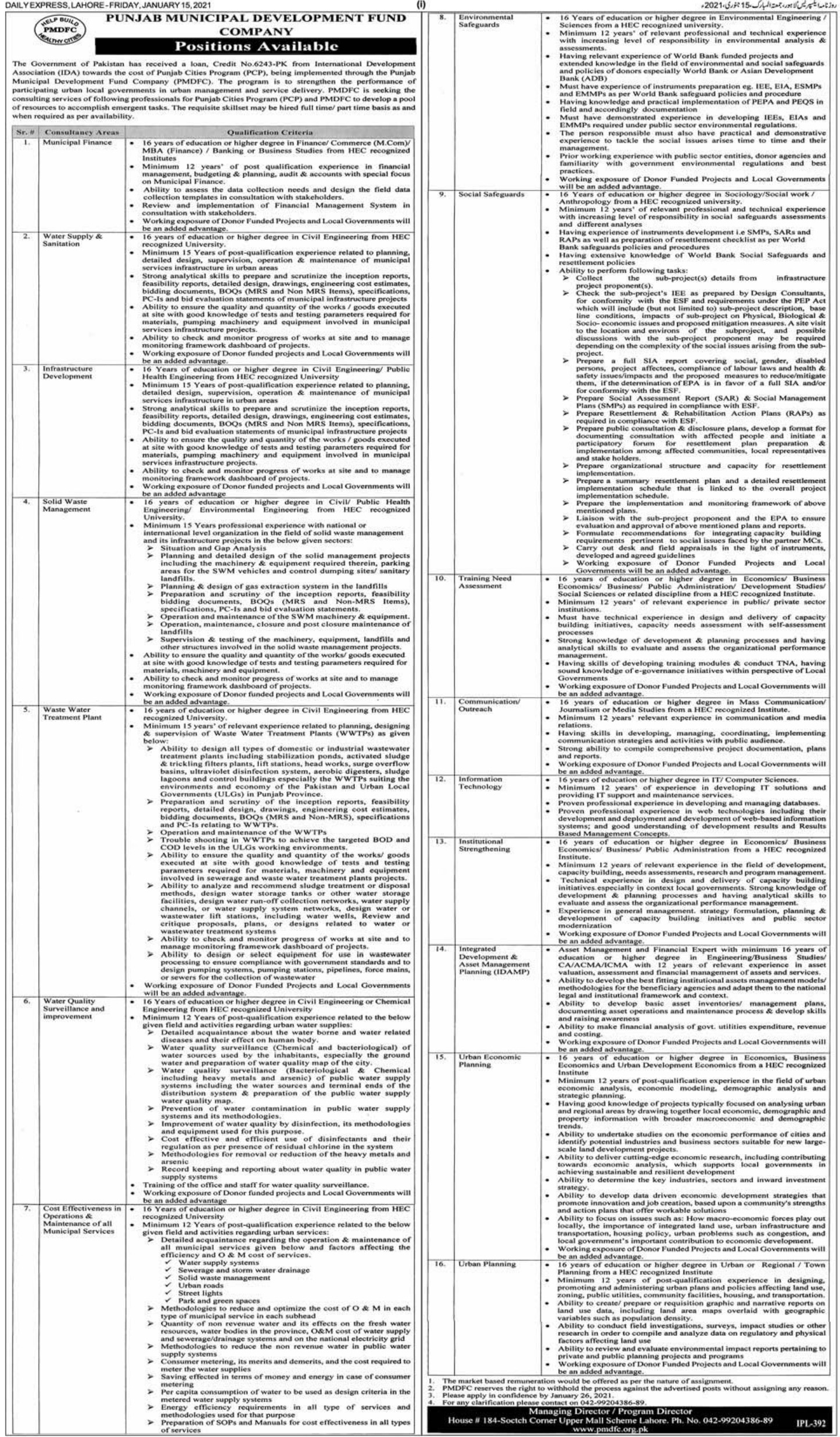 Punjab Municipal Development Fund Company PMDFC Jobs January 2021