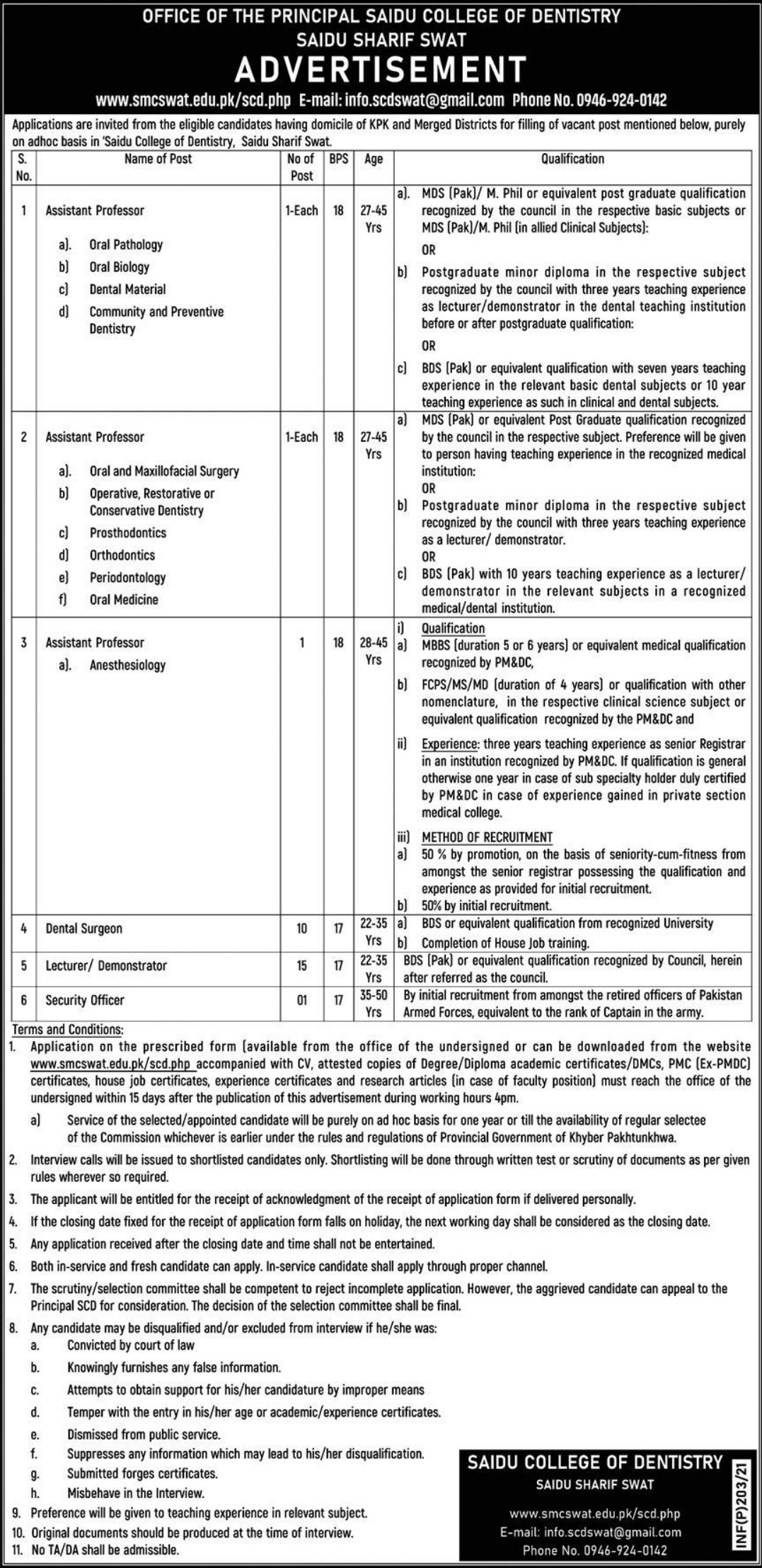 Saidu College of Dentistry Swat Jobs January 2021