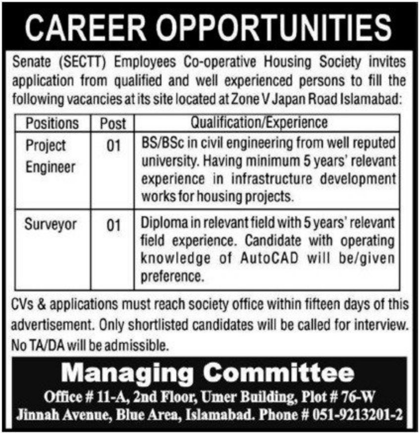 Senate (SECTT) Employees Co-operative Housing Society Islamabad Jobs January 2021