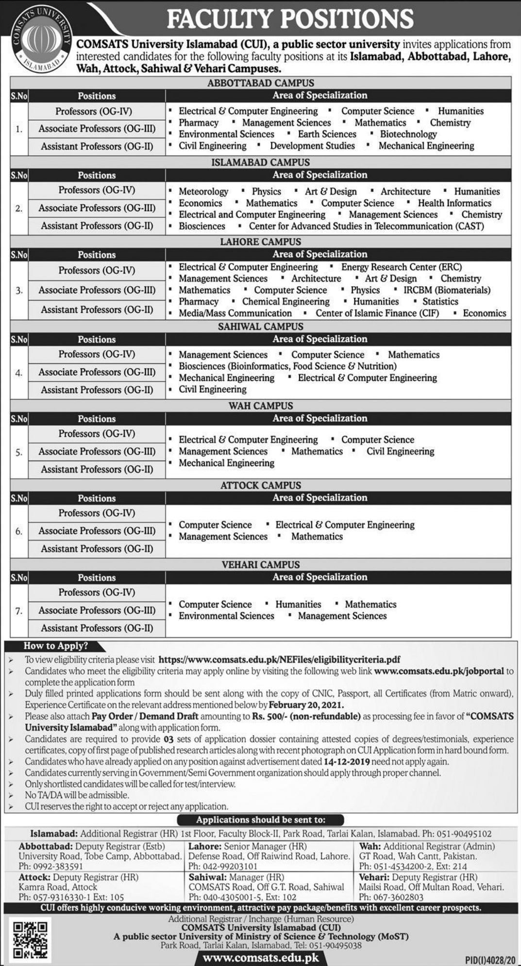 COMSATS University Islamabad Jobs February 2021