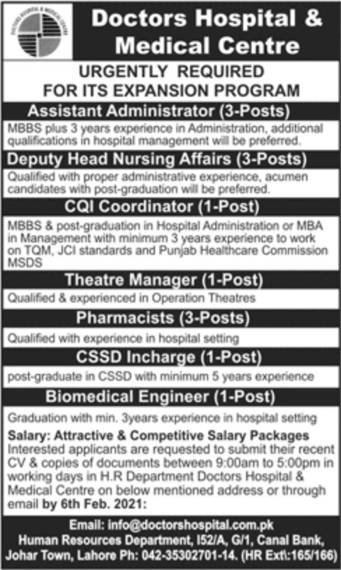 Doctors Hospital & Medical Centre Lahore Jobs February 2021