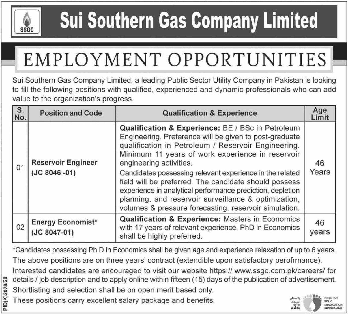 Sui Southern Gas Company Limited SSGC Jobs February 2021