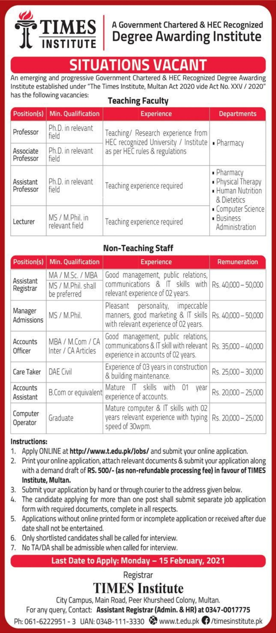 TIMES Institute Jobs February 2021