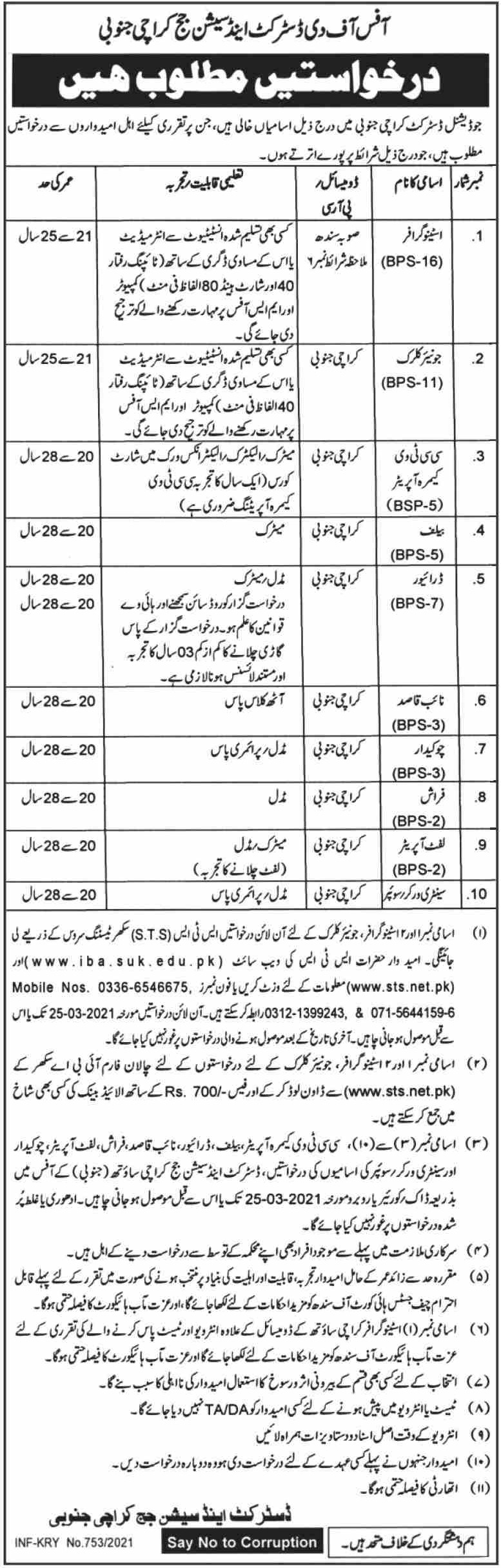 District & Session Court Karachi Jobs March 2021