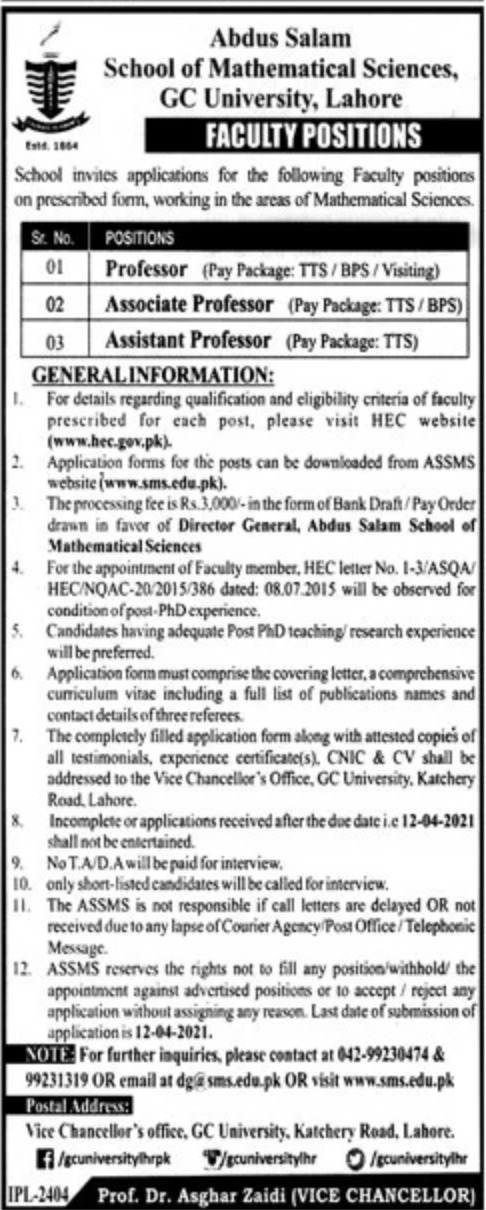 GC University Lahore Jobs March 2021