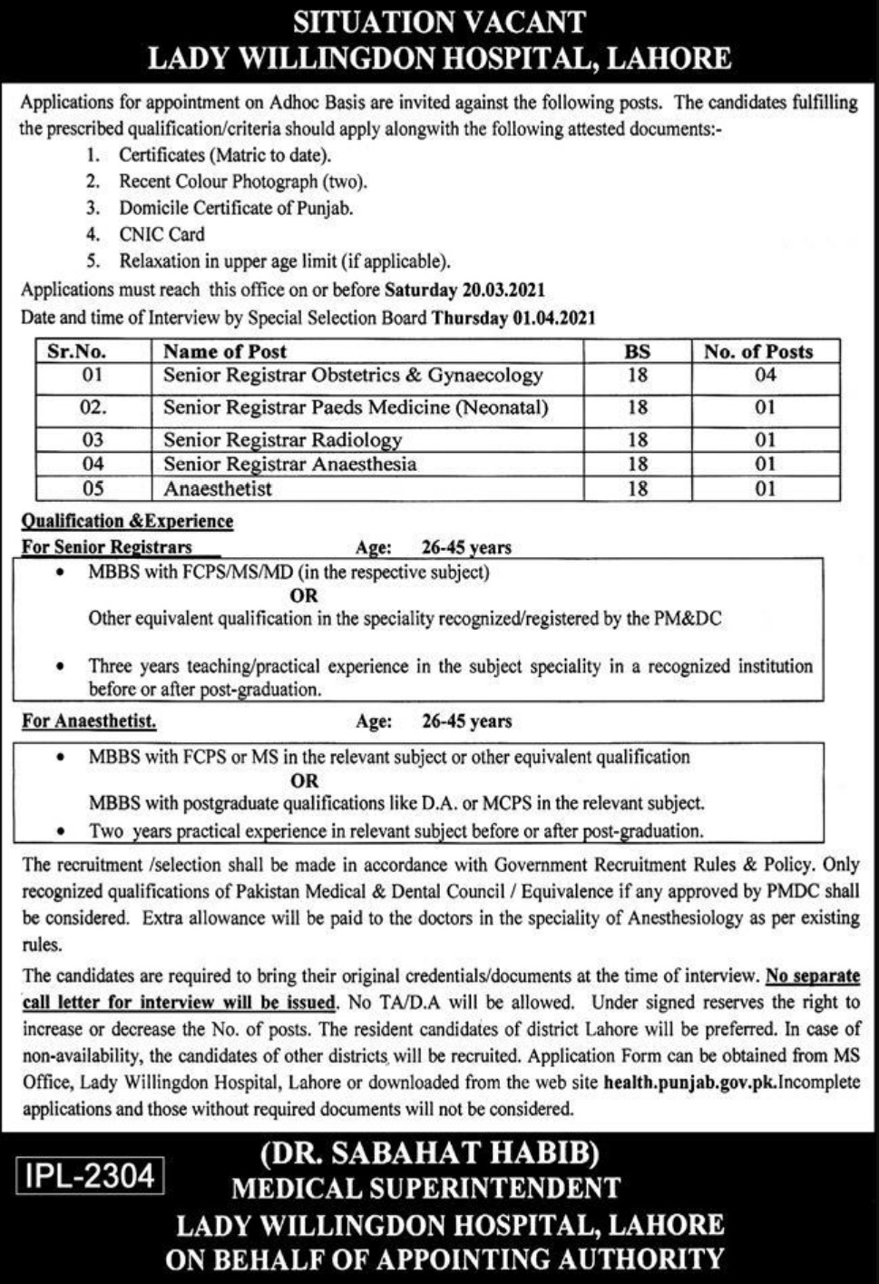 Lady Willingdon Hospital Lahore Jobs March 2021