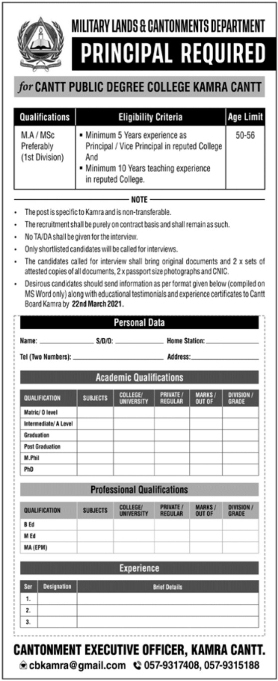 Military Lands & Cantonments Department Jobs March 2021