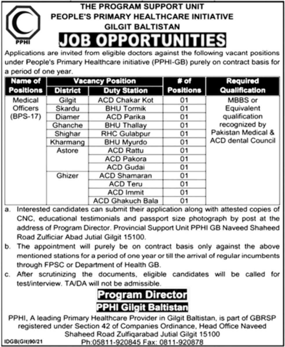 People's Primary Healthcare Initiative Gilgit Baltistan Jobs March 2021