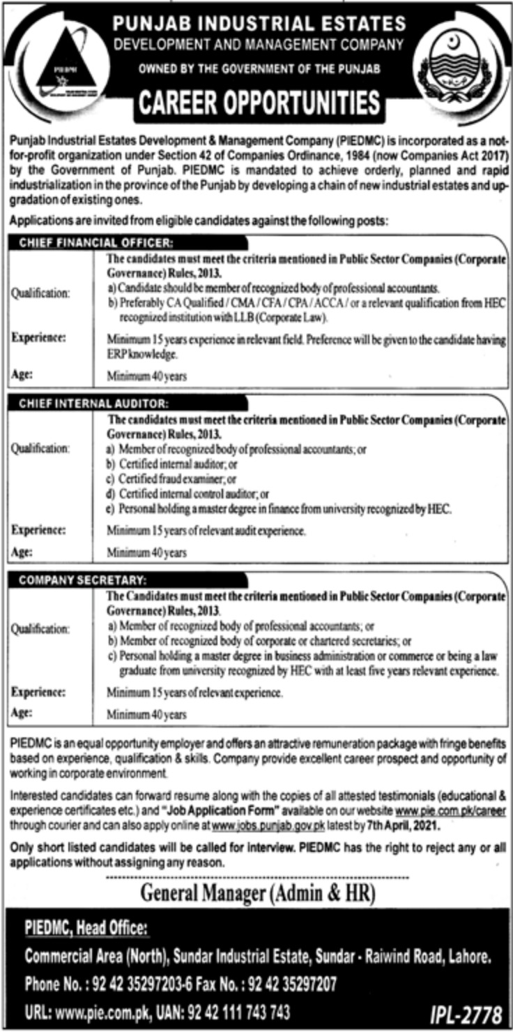 Punjab Industrial Estates Development & Management Company Jobs March 2021