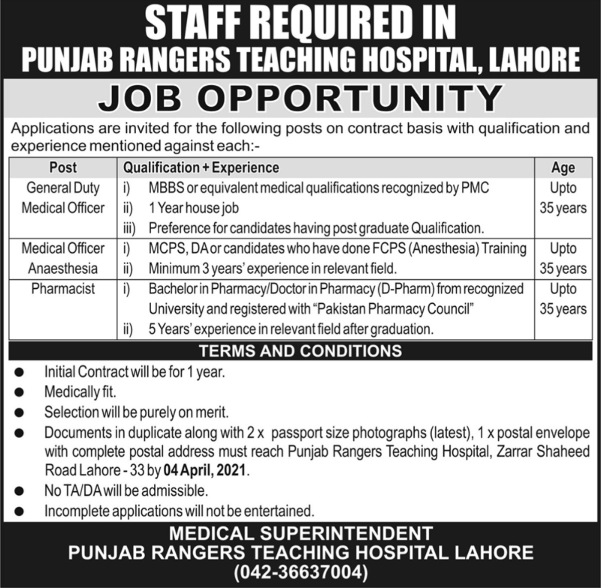 Punjab Rangers Teaching Hospital Lahore Jobs March 2021