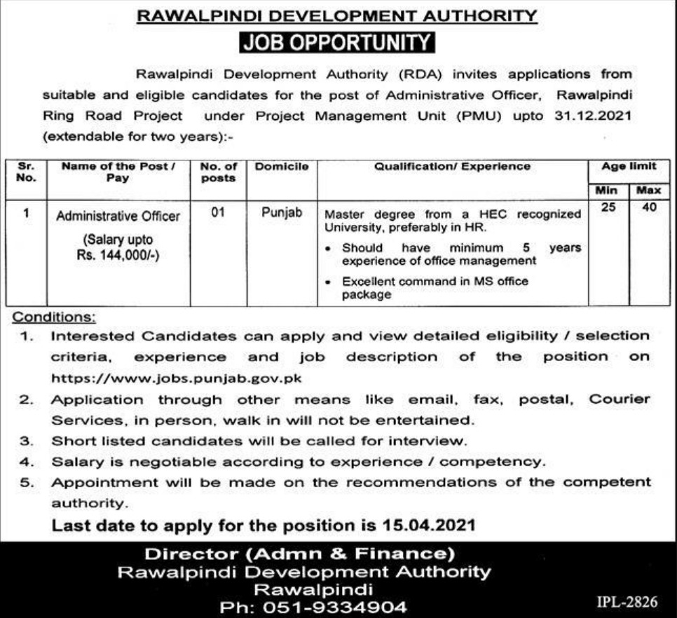 Rawalpindi Development Authority Jobs March 2021
