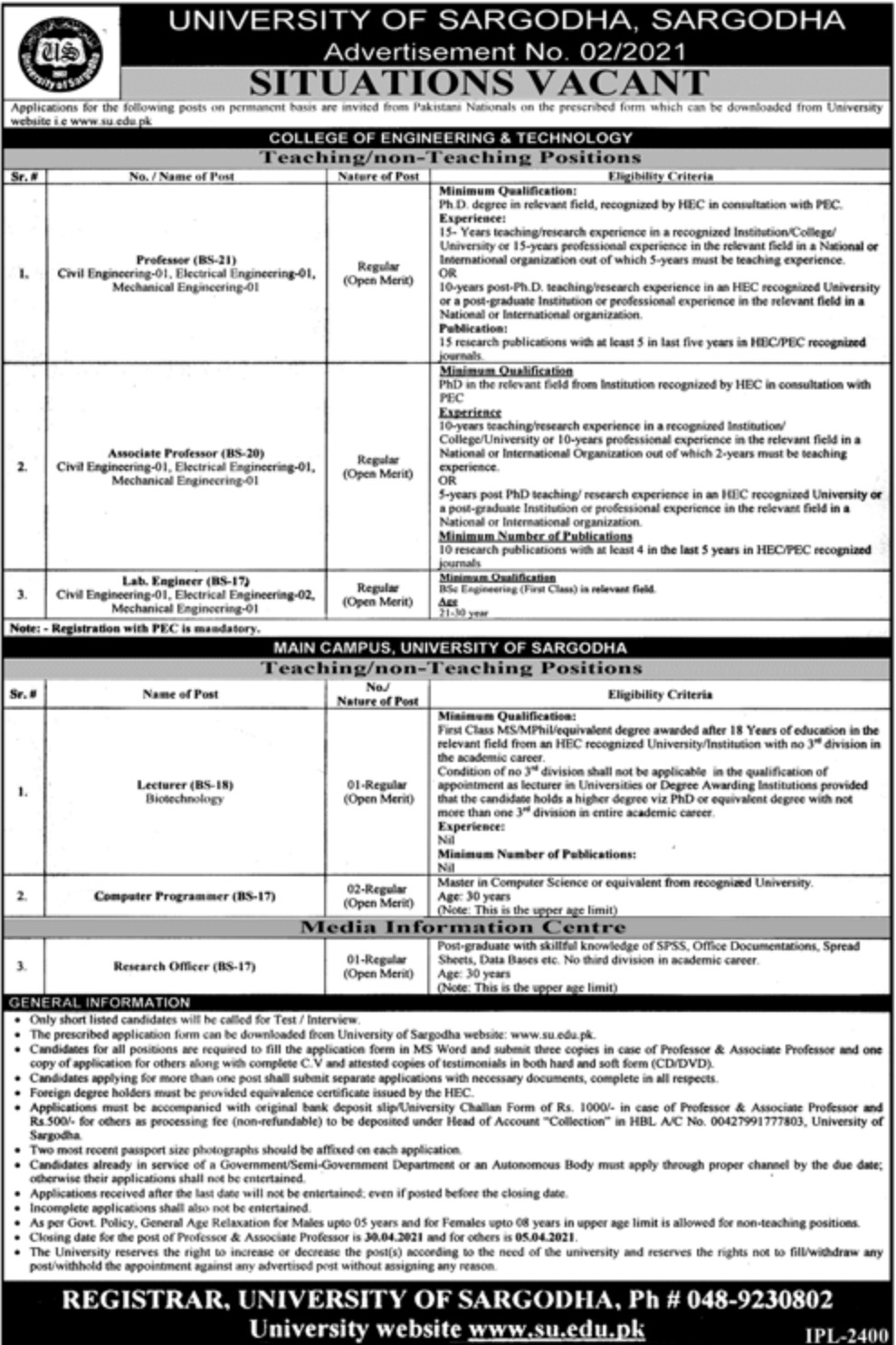 University of Sargodha Jobs March 2021