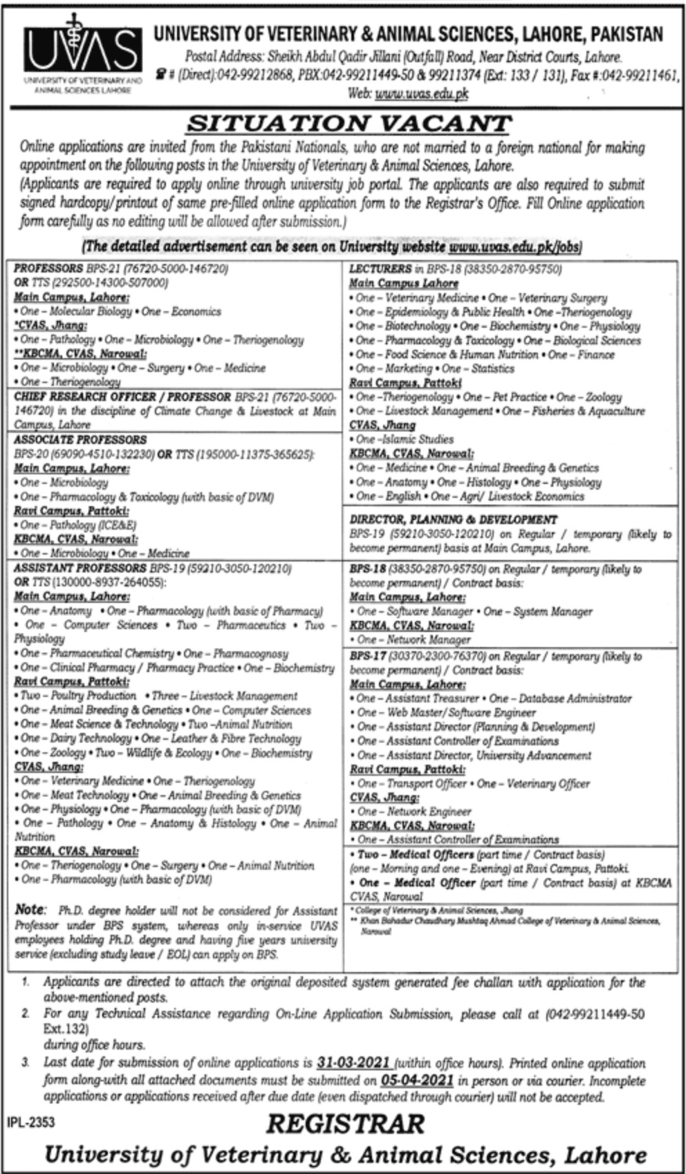 University of Veterinary & Animal Sciences UVAS Lahore Jobs March 2021