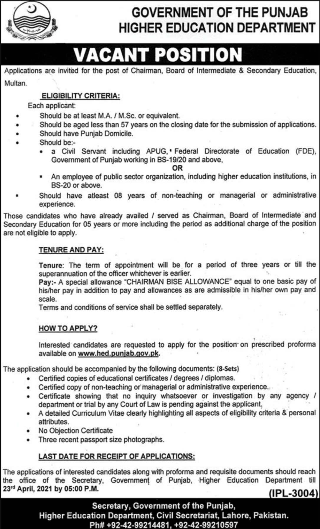 Higher Education Department Punjab Jobs April 2021